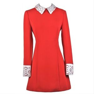 Dresses & Skirts - Daring & Demure Red Lace Peter Pan Collar Dress